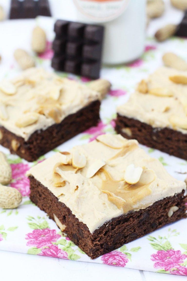 Foto de la Receta de brownie de chocolate y mantequilla de cacahuetes
