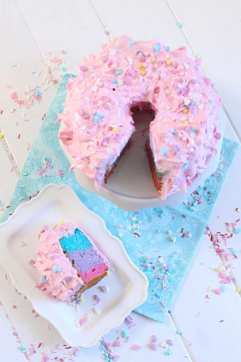 Receta de tarta de unicornio angel food cake