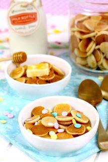 Cómo hacer mini pancakes cereal elaborados por Lolita la pastelera