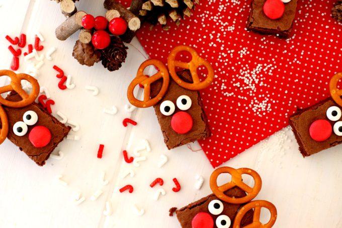 Foto del Brownie de chocolate en forma de reno de navidad