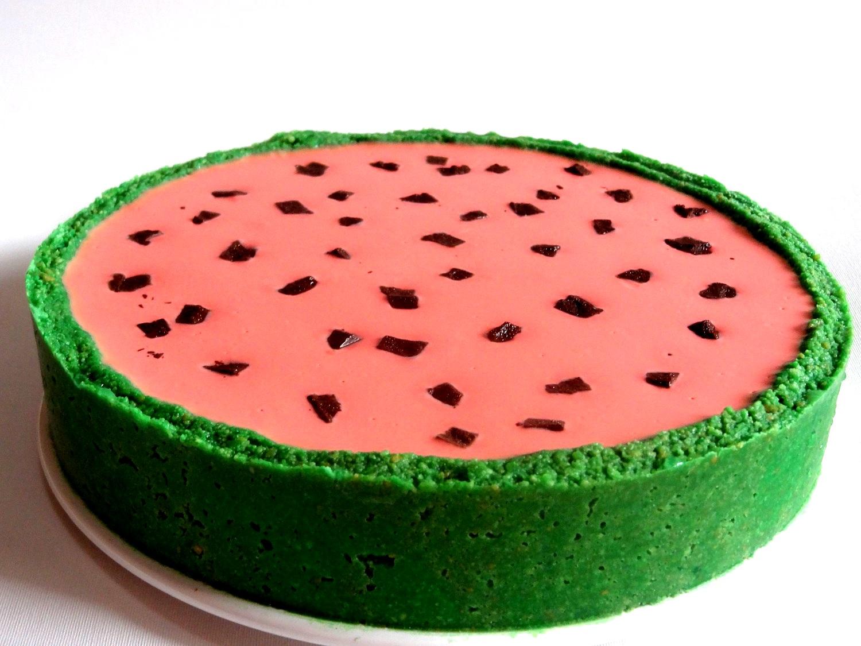 Foto de la receta de cheesecake en forma de sandía