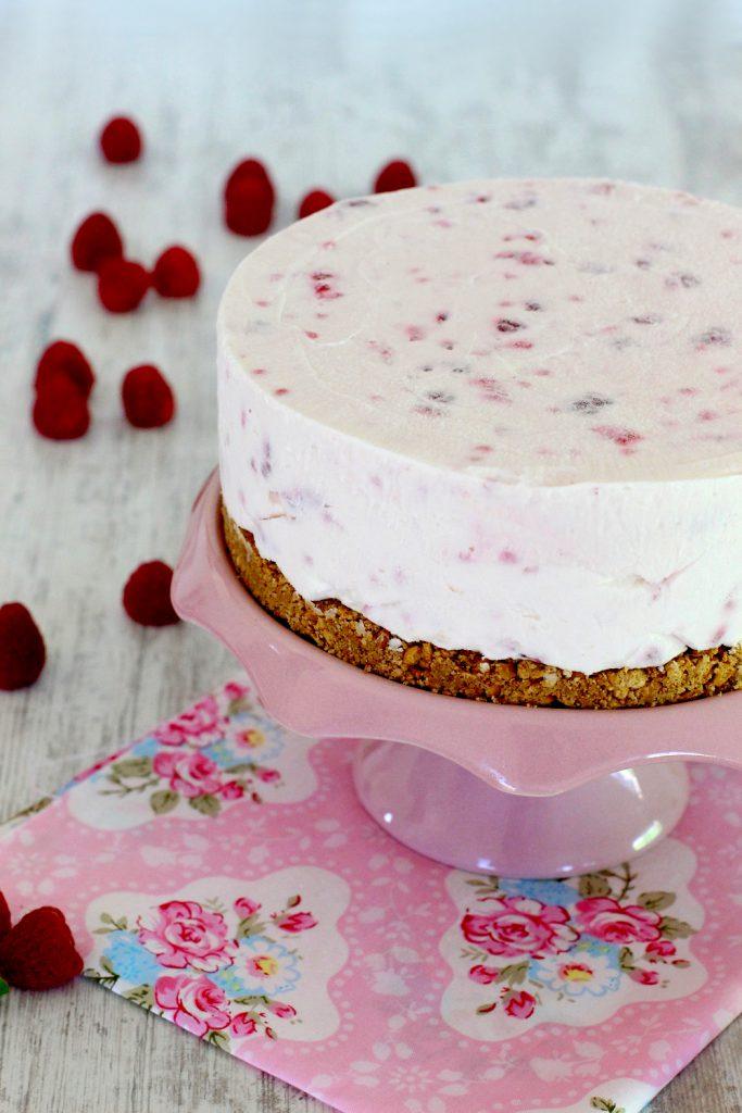 Foto de la receta de tarta helada de queso con frambuesas