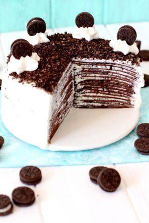 Foto de la receta de tarta de crepes de Oreo
