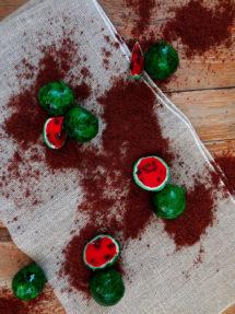 Foto de la receta de cake pops en forma de sandía